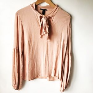 Forever 21 Pink Keyhole Tie Blouse